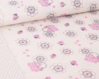 Shinzi Katoh | Japanese fabric - kawaii bees - cotton shirting - fuschia - 1/2 YD