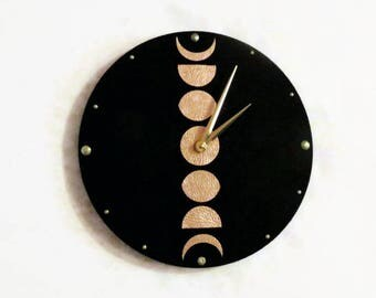 Wall Clocks, Moon Phase, Lunar Cycle,  Black and Rose Gold Leather, Silent Clock Option, Home and Living, Home Decor Wall Clocks