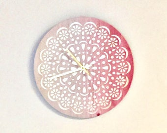 Silent Wall Clock, Pink and Gold Foil, Pink Ombre, Home and Living, Home Decor, Clocks