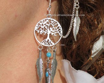 Dream Catcher Jewelry, Dreamcatcher Earrings, Tribal Earrings, Silver Tribal Jewelry Earrings, Ethnic Jewelry Tribal Earrings, boho gypsy