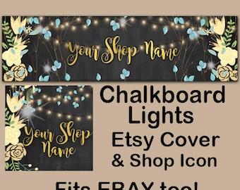CHALKBOARD LIGHTS Etsy Large Cover Banner Set/Premade Etsy Banner/Chalkboard Shop Etsy Banner/Elegant Etsy, Lights Etsy Banner, Ebay
