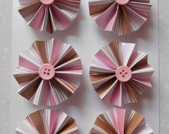 ON SALE Rosette Magnets, Set of 6, Pink & Brown Stripes