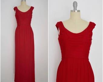 Vintage 1960s Red Malcom Starr Multi-Layered  Silk Chiffon Dress