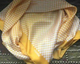 Yellow White Polka Dot Silk Scarf, Tekbir Designer, 1960s SUMMER SALE
