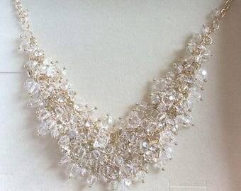 Art Deco Bib Crystal Glass Necklace, Wedding, Bridal, Vintage Jewelry SPRING SALE
