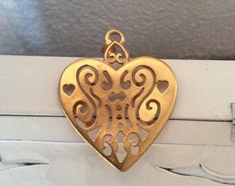 Large Heart Pendant, Open Filigree Work, Gold Tone, Renaissance Style 1960s Vintage Jewelry SUMMER Sale