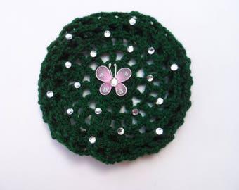 Medium Bun Cover with Rhinestones & Butterfly, 24 Colors, Crochet Bun Cover, Bun Wrap, Bun Holder, Snood, Ballet, Dance