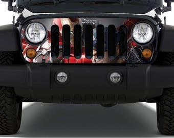 Ironman fight with Capitan America Grille Decal fit to 07- 16 Wrangler JK