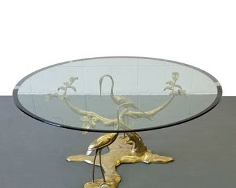 Mid Century Regency Style Solid Brass Tree & Crane Table by Willy Daro