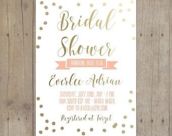 SUMMER SALE Gold Confetti Mint Peach Bridal Shower Baby Invitation Bridal Shower Printable Invitation Card