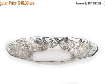 Vintage Sterling Silver Plated Glass Bowl Chrysanthemum Scalloped Edge Long Oval