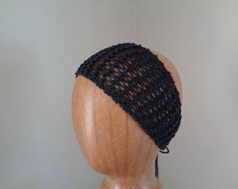 Black Knit Headband, Summer Fashion, Tie Back Headwrap Bandana, Hair Tie, Lacy Headband