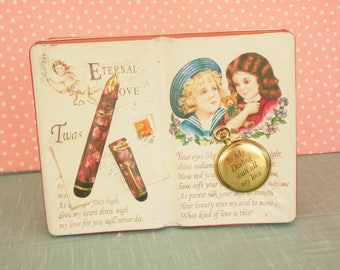 Vintage Tin - Silver Crane Company - Made In England - Book Tin - Valentine's Day