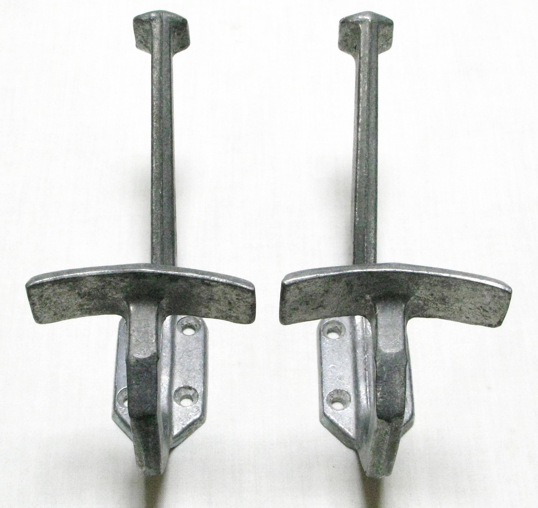 Pair of coat hooks aluminium coat hooks french art deco hat for Artistic coat hooks