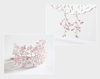 732 Peach pink crystals set, Rose gold earrings and bracelet, Bridal jewelry set, Gift for women, Pink crystals sets, Set for wedding gift