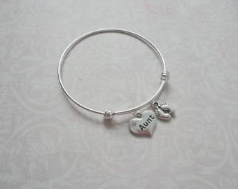 Aunt Bangle Bracelet, You're Going to be an Aunt Bracelet, Baby Announcement Gift, Family Gift