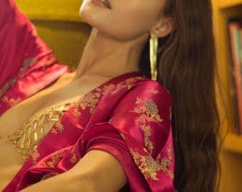 Hot Pink Luxe Satin Kimono Jacket