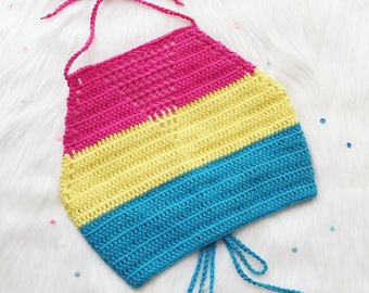 PRIDE - Pansexual Pride Flag Halter Top - Premade, Size SMALL - Crochet Crop Top - Handmade Vegan Clothing - Noelebelle - Ready to Ship