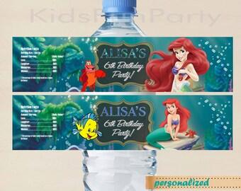 Disney Little Mermaid Water Bottle Label - Disney Princess Ariel Birthday Party Printable Label - Birthday Party Ideas Printable