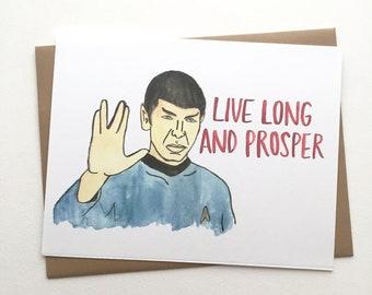 Star Trek Birthday Card// Spock Live Long & Prosper