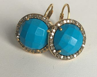 Turquoise and pave diamond drop earring