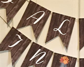 FALL IN LOVE Rustic Bridal Shower Banner - Party Packs Available