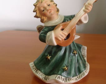 Goebel Germany Christmas Angel green dress with mandolina candle holder