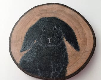 Black Lop-eared Bunny Recycled Wood Magnet Black Lop-eared Rabbit Fridge Magnet Hand Painted Kitchen Decor