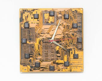 Unique Wall clock, recycled Motherboard clock, yellow / olive green circuit board wall clock - c8984