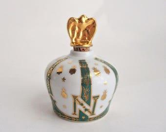 Vintage Limoges Sempe Armagnac Crown of Napoleon Brandy Bottle Gold Gilt Bees Stars