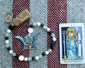 The High Priestess Tarot Prayer Beads with Charm Bottle - mystery, initiation, oracular sight, inner wisdom, spirituality