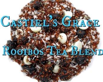 Castiel's Grace Rooibos Tea Blend - loose leaf rooibos tea, coconut, blueberries, lavender, vanilla, Supernatural inspired tea, fandom tea