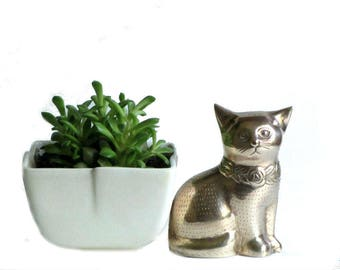 Brass Cat Figurine Etched Flower Collar Kitty Lover Gift Perfect Pet Paperweight