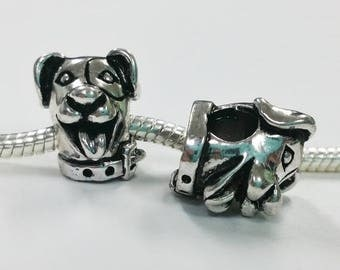 3 Beads - Smiling Dog Head Animal Silver European Bead Charm E1434