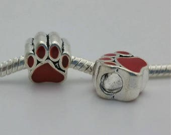 3 Beads- Red Paw Print Enamel Silver European Bead Charm E1537