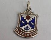 Fleetwood Travel Shield Charm - Sterling Silver Enamel Vintage  Bracelet Charm, Pendant, Charm Necklace. Lancashire, England.