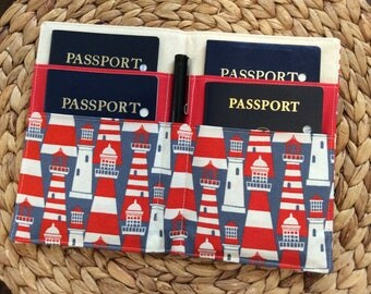 Family Passport Holder,  Holds 4 Passports, Lighthouse Fabric, Nautical Ocean Cruise,  International Travel, APO Travel Accessory