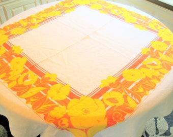 Orange Yellow Tablecloth - 50's Floral Motif - Bold Cotton Colors - 52 X 48 - Fiesta Theme