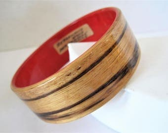Zebra Wood Bangle,  Africa Dyed Sycamore Wood, Red Lined, Signed France Bracelet,