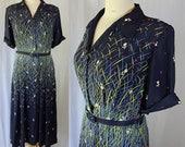 40s Plus Size Dress, Floral Print Rayon, Wrap bodice