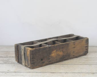Vintage Divided Wood Box Handmade Wood Tote Wood Tool Box With Strap Handle