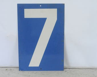 Vintage Metal Number 7/8 Double Sided Sign Gas Station Signs #2