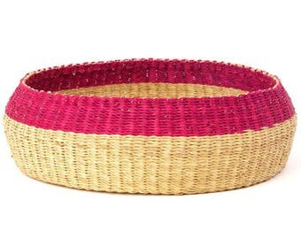 African Woven Storage Box Basket Elephant Grass in Pink