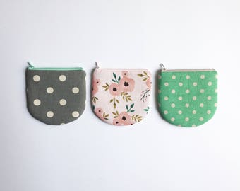 Cute Change Purse, Round Coin purse,  Zipper Pouch, Coin Pouch, Card Holder, Gadget Pouch, Polka Dots, Pink Floral, Mint, Gray