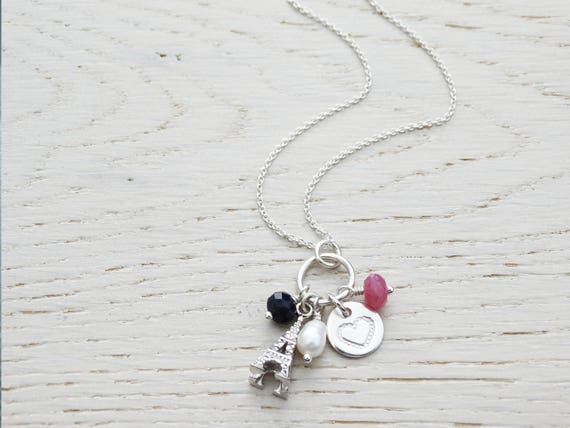 Eiffel Tower Necklace With Heart, Pearl, Sapphire & Ruby, Sterling Silver, Paris