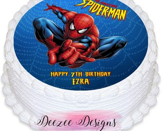Spiderman Personalised Round Edible Icing Cake Topper - PRE-CUT