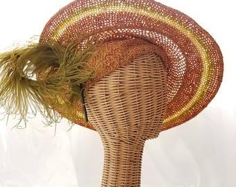 RESERVED Vintage 1930s orange knit sun hat, large green feather yellow, floral side tilt cartwheel, 1920s Byrdana