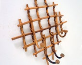 Bamboo Rattan and Wicker Vintage Wall Coat Rack