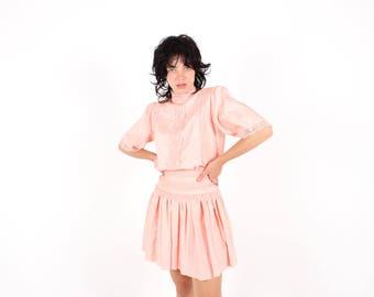 80s Divine Lace Prairie / Dolly / Lolita Sheer Drop Waist Picnic At Hanging Rock Dress