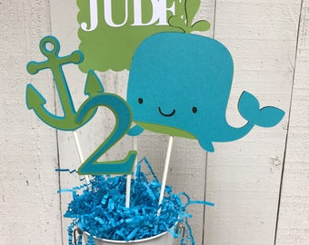 Whale Centerpiece/ Cake Topper/ Nautical Theme/ Birthday Decorations/ Turquoise and Green/ Anchor/ Age/ Name/ Personalized/ Custom Decor